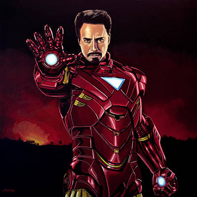 Action Portrait Painting - Robert Downey Jr. As Iron Man  by Paul Meijering