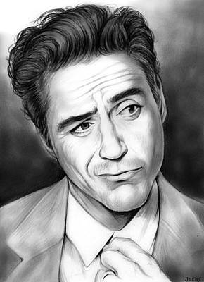 Iron Man Drawing - Robert Downey Jr by Greg Joens