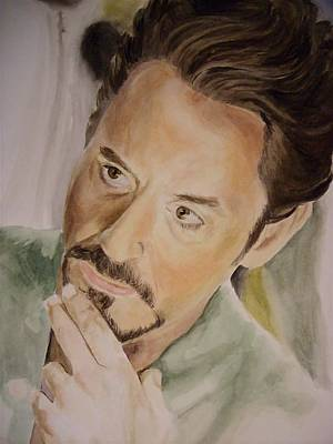 Robert Downey Jr Iron Man Art Print by Angela Schwengler