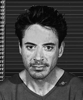 Painting - Robert Downey Jr Mug Shot 2001 Black And White by Tony Rubino