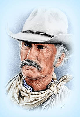 Fan Art Drawing - Robert Duvall As Gus Mccrae by Andrew Read