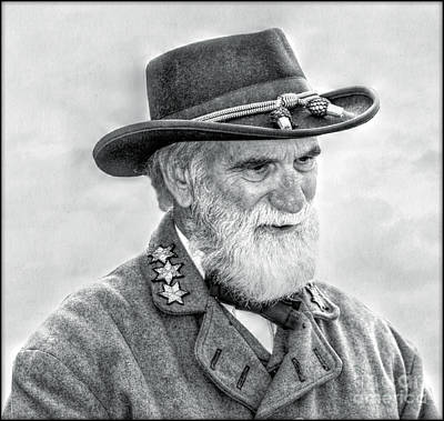 Robert E Lee Confederate General Portrait Print by Randy Steele