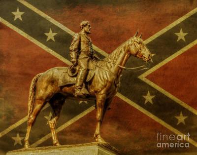 The General Lee Digital Art - Robert E Lee Statue Gettysburg by Randy Steele