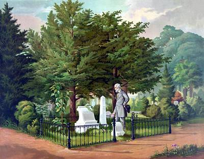 Stonewall Jackson Painting - Robert E. Lee Visits Stonewall Jackson's Grave by War Is Hell Store