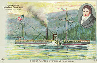 Photograph - Robert Fulton And His Steamboat Official Card by Joe Santacroce