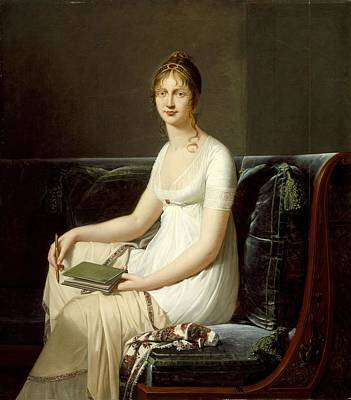 Animal Surreal - Robert Jacques Lefevre  Portrait of a Woman Holding a Pencil and a Drawing Book by Robert Jacques Lefevre