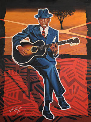 Crossroads Painting - Robert Johnson Blues Legend by Karl Melton