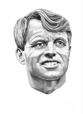 Famous People Portrait Drawing - Robert Kennedy by Murphy Elliott