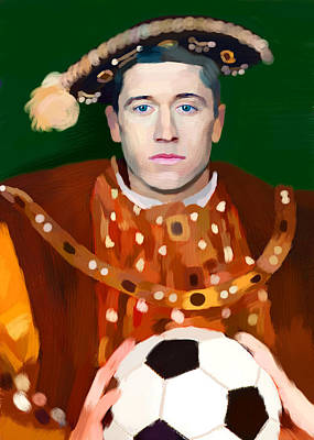 Lewandowski Wall Art - Painting - Robert Lewandowski As King Of Soccer by Maciej Mackiewicz