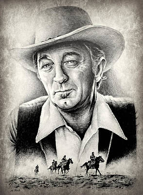 Cowboy Hat Drawing - Robert Mitchum by Andrew Read