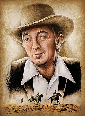 Painting - Robert Mitchum Colour by Andrew Read