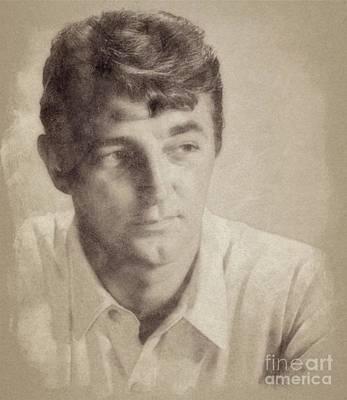 Celebrity Drawing - Robert Mitchum, Hollywood Legend By John Springfield by John Springfield