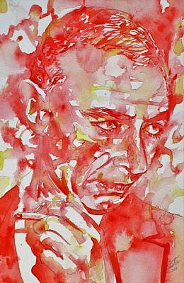 Painting - Robert Oppenheimer - Watercolor Portrait.3 by Fabrizio Cassetta