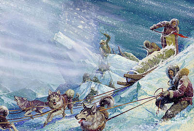 Huskie Painting - Robert Peary's Expedition To The North Pole by Severino Baraldi