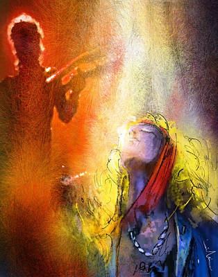 Music Paintings - Robert Plant and Jimmy Page 02 by Miki De Goodaboom