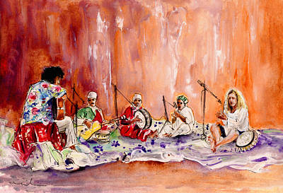 Music Paintings - Robert Plant And Jimmy Page In Morocco by Miki De Goodaboom