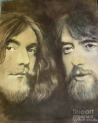 Robert Plant Drawing - Robert Plant And Jimmy Page by Paula Soesbe