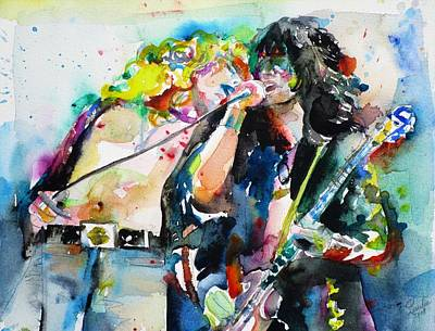 Painting - Robert Plant And Jimmy Page Watercolor Portrait.1 by Fabrizio Cassetta
