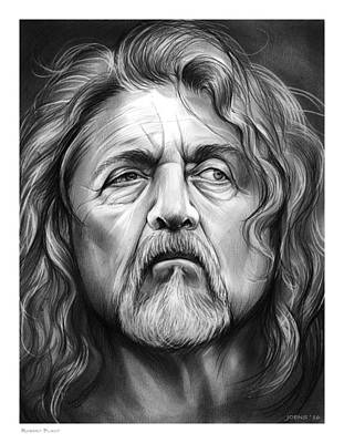 Musicians Drawings Rights Managed Images - Robert Plant Royalty-Free Image by Greg Joens