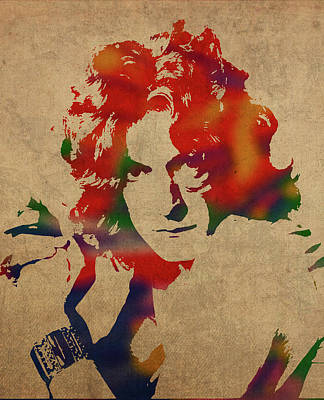 Robert Plant Wall Art - Mixed Media - Robert Plant Led Zeppelin Watercolor Portrait by Design Turnpike