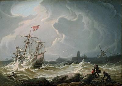 Robert Salmon - Ship In Storm Print by Robert Salmon