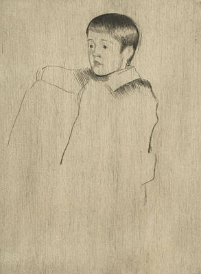 Relief - Robert Seated, Facing Left by Mary Cassatt
