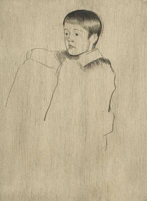 Relief - Robert Seated, Facing Left by Mary Cassatt