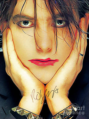 Digital Art - Robert Smith The Cure Art With Autograph by Kjc