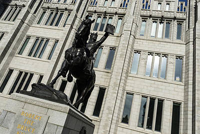 Photograph - Robert The Bruce - Scotland National Hero Equestrian Statue At Marischal College In Aberdeen by Georgia Mizuleva