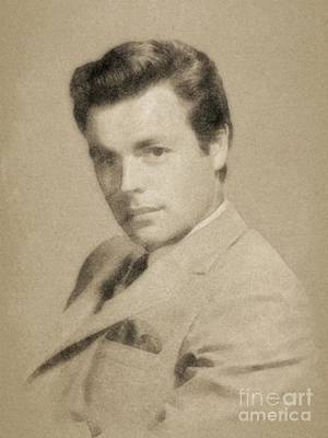Musicians Drawings Rights Managed Images - Robert Wagner, Vintage Actor by John Springfield Royalty-Free Image by Esoterica Art Agency