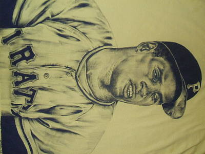 Clemente Drawing - Roberto Clemente by Kevin Armenta