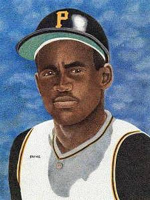 Clemente Drawing - Roberto Clemente by Rob Payne
