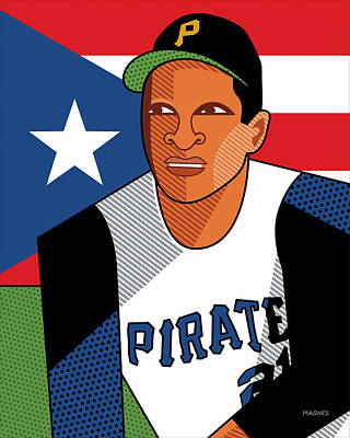 Digital Art - Roberto Clemente by Ron Magnes