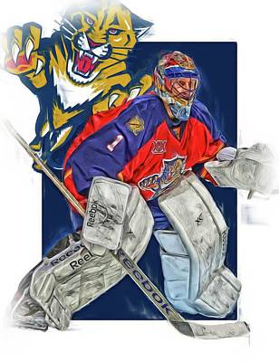 Mixed Media - Roberto Luongo Florida Panthers Oil Art by Joe Hamilton