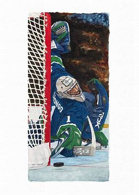 Vancouver Canucks Painting - Roberto Luongo by Glen Green