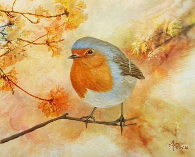 Flycatcher Painting - Robin Among Flowers by Angeles M Pomata