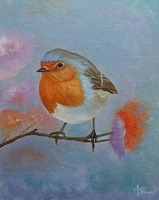 Flycatcher Painting - Robin by Angeles M Pomata