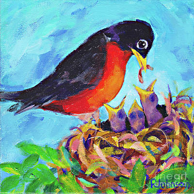 Painting - Robin Babies By Peggy Johnson by Peggy Johnson