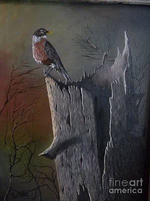 Wall Art - Painting - Robin Bird On A Hollow Tree Stump by Terry Mills