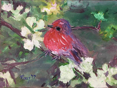 Animals Painting - Robin Chick In White Cherry Blossoms by Roxy Rich