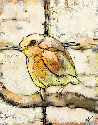 Fabric Mixed Media - Robin Collage by Carrie Joy Byrnes