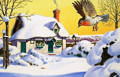 Robin Flying In The Snow Art Print by English School