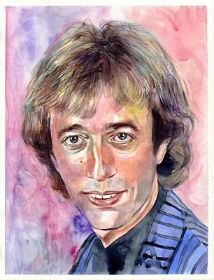 Bee Wall Art - Painting - Robin Gibb Portrait Watercolor by Suzann's Art
