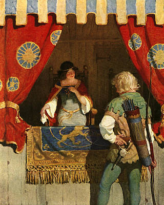 Flirtation Painting - Robin Hood Meets Maid Marian by Newell Convers Wyeth