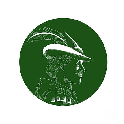 Robin Hood Side Profile Circle Woodcut Print by Aloysius Patrimonio