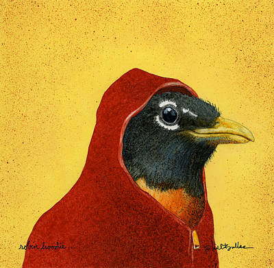 Hoodies Painting - Robin Hoodie... by Will Bullas