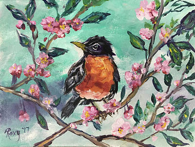 Yellow Painting - Robin In A Budding Cherry Tree by Roxy Rich