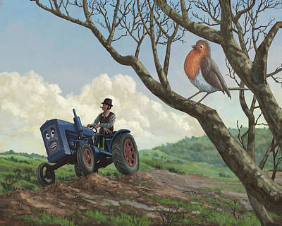 Robin In Field Looking At Farmer Art Print by Martin Davey