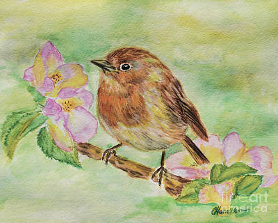 Painting - Robin In Flowers by Olga Hamilton