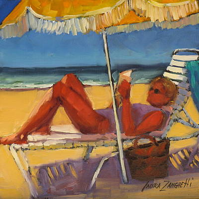 Woman On Beach Painting - Robin In Her Zone by Laura Lee Zanghetti